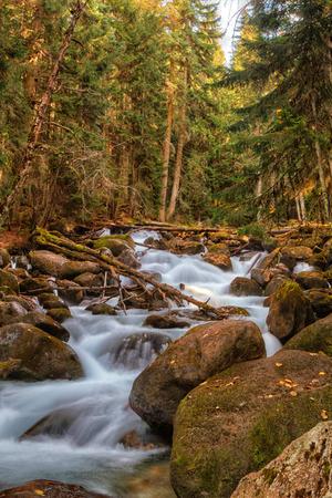 dombai: River Ullu-Murudzhu in Dombai,Karachai,Cau casus,Russia. Stock Photo