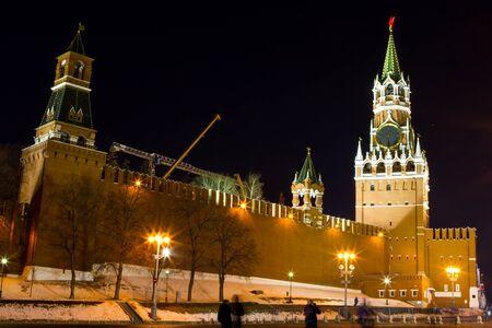 spasskaya: Night view of Moscow Red Square, Spasskaya Tower of Kremlin