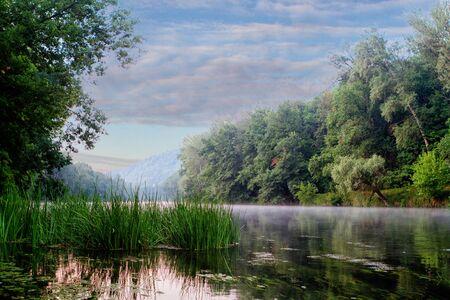 spring landscape view of the river Seversky Donets beautiful blue sky near Svyatogorsk Lavra