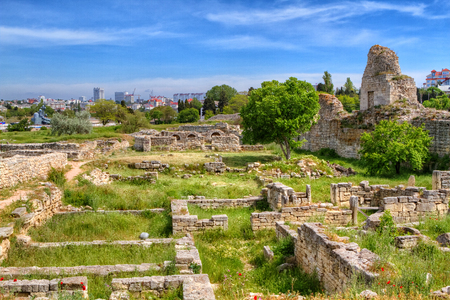 The remains of the ancient city of Chersonesus, 528 years. BCE. Oe. Founded by the ancient Greeks to Heracleian peninsula on the southwest Stock Photo