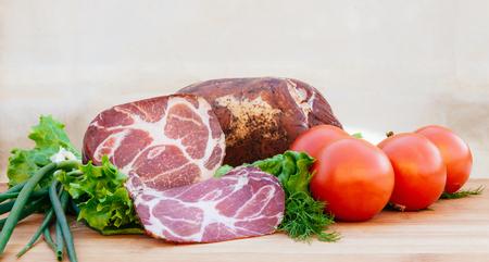 scallion: pork smoked tomatoes onions scallion slice spice Stock Photo
