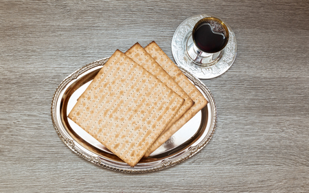 kiddush: wine and matzoh jewish passover bread Passover matzo Passover wine