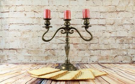 matzes: wine and matzoh jewish passover candles  bread Passover matzo Passover wine Stock Photo