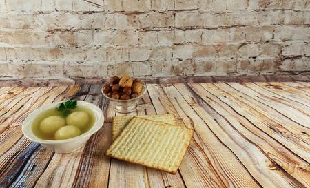 Matzah balls in a bowl of soup homemade healthy israelil