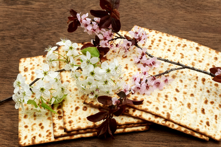pesach: Pesach matzo passover with wine and matzoh jewish passover bread Foto de archivo