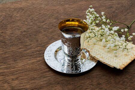 pesakh: Pesach matzo passover with wine and matzoh jewish passover bread Stock Photo