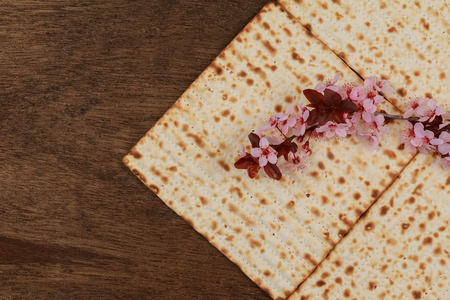 matzoh: Pesach matzo passover with wine and matzoh jewish passover bread Stock Photo