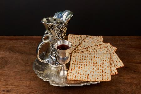 matzes: Pesach matzo passover with wine and matzoh jewish passover bread Stock Photo