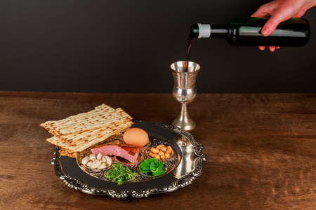 piety: Pesach matzo passover with wine and matzoh jewish passover bread Stock Photo