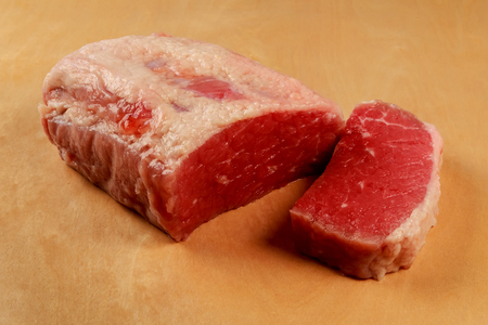 beefsteak: Fresh raw beef steak isolated on white slice beefsteak Stock Photo