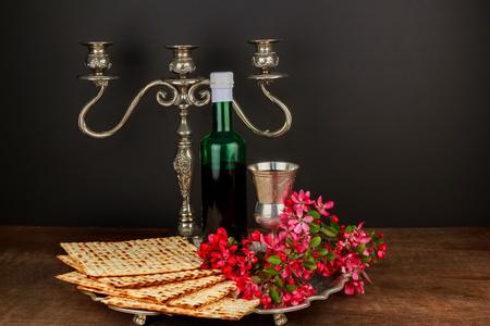 pesakh: Matzo passover with wine and matzoh jewish passover bread Pesach Still-life with wine and matzoh