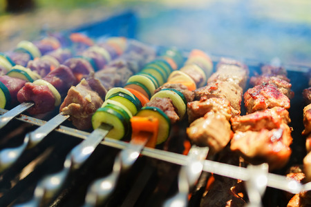 barbecue grill: Meat and vegetable skewers on grill in nature