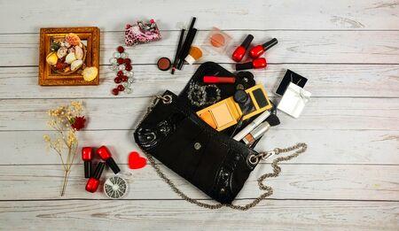 stuff: nail make-up Bag cosmetics makeup bag woman lady stuff
