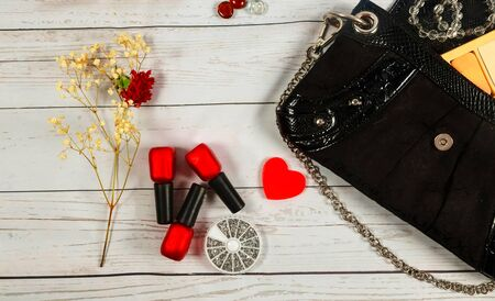 nagel make-up tas cosmetica make-up tas vrouw dame stuff Stockfoto