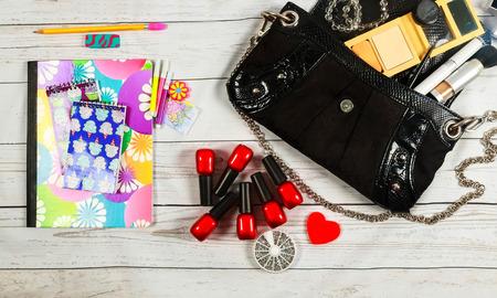notebook: nail make-up Notebook Bag mirror cosmetics makeup bag woman lady stuff Stock Photo