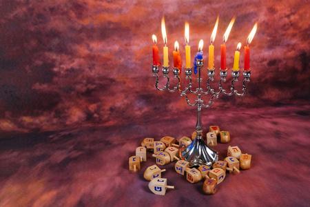 judaic: Star of David Hanukkah menorah Hanukkah candles Stock Photo