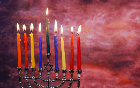judaical: Star of David Hanukkah menorah Hanukkah candles Stock Photo
