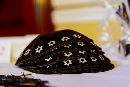shabbat: Yarmulke - traditional Jewish headwear, Israel. Jewish headwear