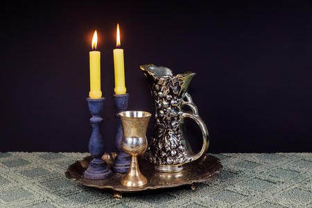 Saturday Shabbat Shalom Shabbat Shalom Hebrew background with kiddush candles