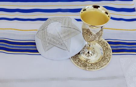 Bar Mitzvah preparation for celebration Prayer Shawl - Tallit, jewish religious symbol
