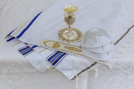 Bar Mitzhvah jewish religious symbol Prayer Shawl - Tallit, Jewish religious symbol Stock Photo