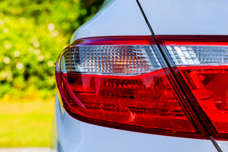 backlight of white car style, tail, taillight, transport transportation white Stock Photo