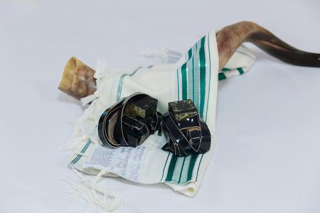 Prayer Shawl - Tallit and Shofar horn jewish religious symbol Stock Photo