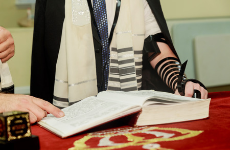tefillin: Jewish Torah at Bar Mitzvah Bar Mitzvah Torah reading Stock Photo