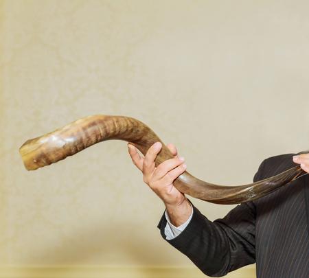 judaic: Shofar a tallit on a white background - rosh hashanah jewesh holiday concept