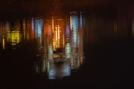 Tyne Bridge at night The iconic bridges over the River Tyne betweenreflection in the water of illumination of the bridge Stock Photo