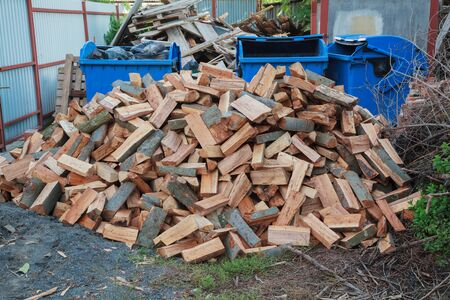 chopped logs for winter fire chopped firewood Stok Fotoğraf