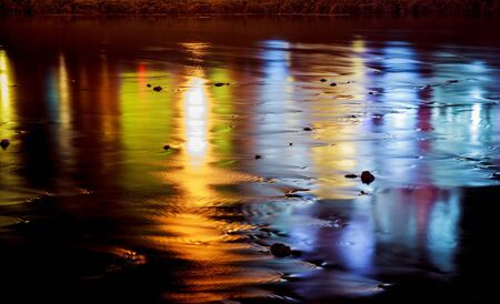 reflection: colorful lighting reflection in water water reflection night lights river