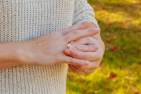ring on the hand of a beautiful girl Wedding ring with hand