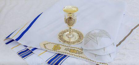 Jewish holiday Prayer Shawl - Tallit, jewish religious symbol Stock Photo