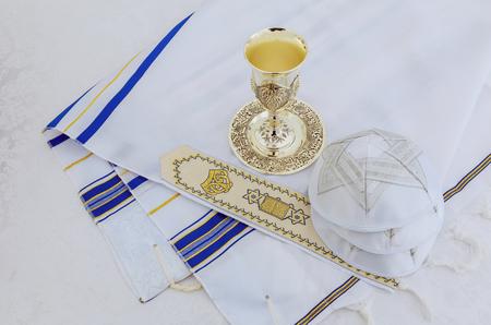 tefillin: Jewish holiday Prayer Shawl - Tallit, jewish religious symbol Stock Photo