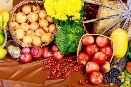 Thanksgiving day autumnal still life Thanksgiving Day Fruits Vegetables