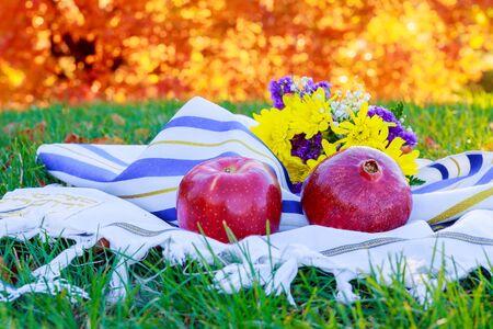 Jewish Holiday Rosh hashanah jewish New Year holiday concept. Traditional symbols Stock Photo