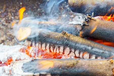 Bonfire with flame, smoke, wooden charcoals embers.