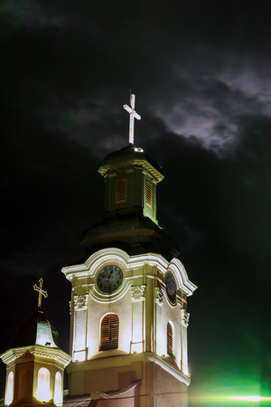 Night view of Roman Catholic Cathedral  St. George in Uzhgorod Stock Photo