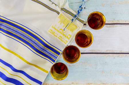 Jewish holiday hannukahb Wine and matzoh - elements of jewish passover supper