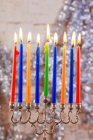 jewish holiday Hanukkah with menorah over wooden table Star of David Hanukkah menorah Hanukkah candles