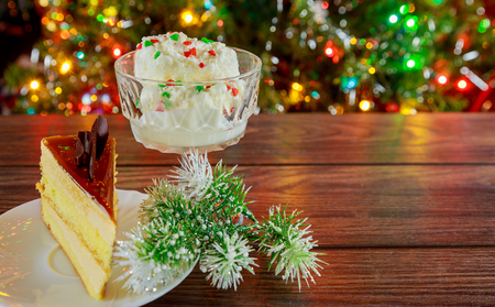 Cake of the whipped white, Christmas decorations, selective focus