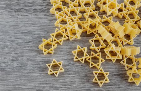 Jewish Holiday jewish symbol Jewish pasta for broth buckwheat and bow-tie pasta, a traditional jewish dish Zdjęcie Seryjne