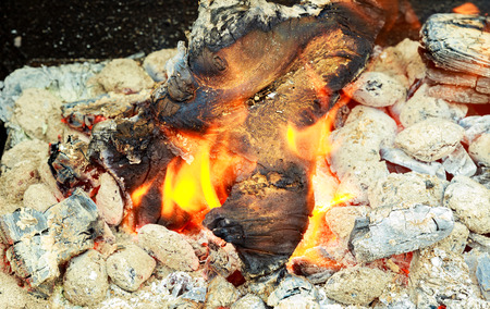 Fire. Closeup of pile of wood burning with flames Stok Fotoğraf