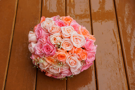 Wedding bouquet of pink roses Rose wedding bouquet Stock Photo