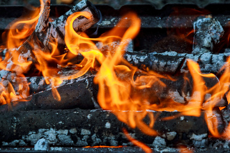 Wood burning in the fireplace closeup. Stock Photo