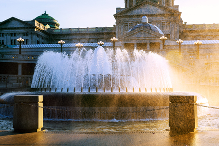 Pennsylvania capital building in Harrisburg. Back side of the capital with the fountain in the foreground. Stock Photo
