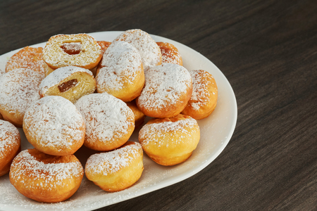 Traditional donuts with liqueur and sugar snack, space, sugar, surface, sweet, tasty thursday