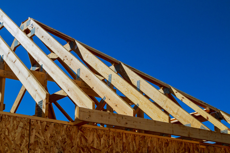 new house construction interior with exposed framing