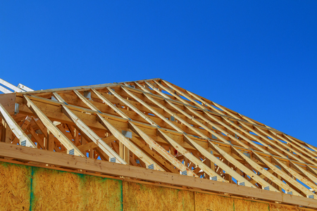 New construction wooden building or house.